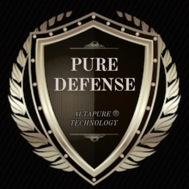 Pure Defense Logo black and gold shield